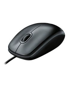 Logitech B100 Corded Mouse – Wired USB Mouse for Computers and laptops for Right or Left Hand Use Black 910-001439