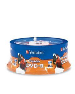 Verbatim DVD-R 4.7GB 16X White Inkjet Printable with Branded Hub 25-Disc 96191