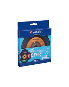 Verbatim CD-R 80min 52X with Digital Vinyl Surface - 10pk Bulk Box Blue/Green/Orange/Pink/Purple - 97935 97935