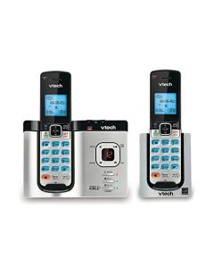 VTech DS6621-2 DECT 6.0 Expandable Cordless Phone with Bluetooth Connect to Cell and Answering System Silver/Black with 2 Handsets DS6621-2