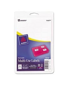 Removable Multi-Use Labels 1/2 x 3/4 White 1008/Pack AVE05418