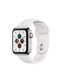 Apple Watch Series 5 (GPS + Cellular 40mm) - ​ Stainless Steel Case with White Sport Band MWWR2LL/A
