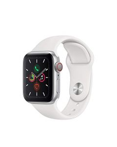 Apple Watch Series 5 (GPS + Cellular 40mm) - Silver Aluminum Case with White Sport Band MWWN2LL/A