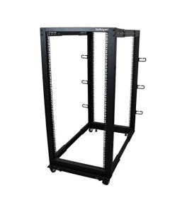 """StarTech.com 25U Open Frame Server Rack - 4 Post Adjustable Depth (22"""" to 40"""") Network Equipment Rack w/ Casters/ Levelers/ Cable Management (4POSTRACK25U),Black 4POSTRACK25U"""