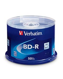 Verbatim BD-R 25GB 16X Blu-ray Recordable Media Disc - 50 Pack Spindle 98397