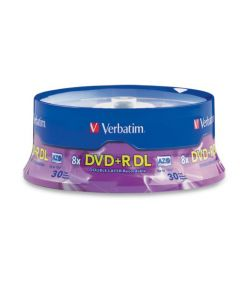 Verbatim DVD+R DL 8.5GB 8X with Branded Surface - 30pk Spindle - 96542 96542