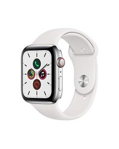 Apple Watch Series 5 (GPS + Cellular 44mm) - ​ Stainless Steel Case with White Sport Band MWW22LL/A