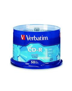 Verbatim CD-R 700MB 80 Minute 52x Recordable Disc - 50 Pack Silver 94691