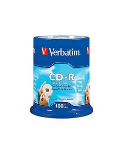Verbatim CD-R 700MB 80 Minute 52x Recordable Disc with Blank White Surface - 100 Pack Spindle - 94712 94712