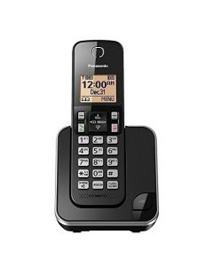 Panasonic  Expandable Cordless Phone System with Amber Backlit Display and Call Block – 1 Handsets – KX-TGC350B (Black) KX-TGC350B
