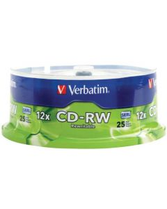 Verbatim CD-RW 700MB 2X-12X Rewritable Media Disc - 25 Pack Spindle 95155
