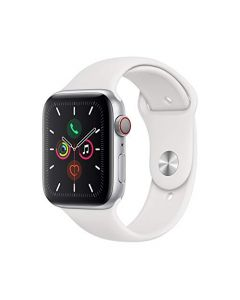 Apple Watch Series 5 (GPS + Cellular 44mm) - Silver Aluminum Case with White Sport Band MWVY2LL/A