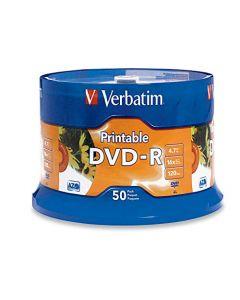 Verbatim DVD-R 4.7GB 16X White Inkjet Printable with Branded Hub 50-Disc 95137