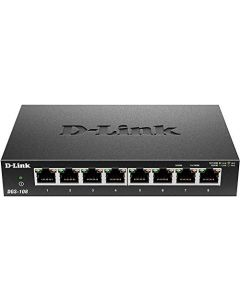 D-Link Ethernet Switch 8 Port Gigabit Unmanaged Metal Fanless Desktop or Wall Mount Design (DGS-108) DGS-108