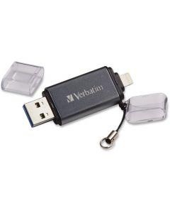 Verbatim Store n Go Dual USB 3.0 Flash Drive 64 GB Lightning, USB 3.0 Graphite 1/Each USB 3.0 F/APPLE LGHTNG DEV GRAPHITE