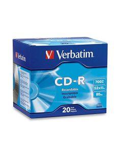 Verbatim CD-R 700MB 80 Minute 52x Recordable Disc - 20 Pack Slim Case - 94936 Silver 94936