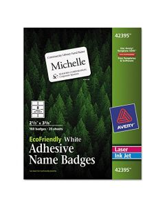 Avery EcoFriendly Name Badge Labels for Laser and Ink Jet Printers 2.33 x 3.375 Inches White Permanent Pack of 160 (42395) 42395
