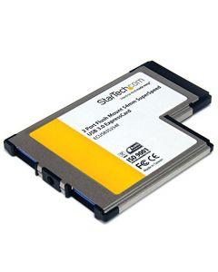 StarTech.com 2 Port Flush Mount ExpressCard 54mm SuperSpeed USB 3.0 Card Adapter with UASP - Dual Port Laptop ExpressCard USB 3 Controller (ECUSB3S254F) ECUSB3S254F