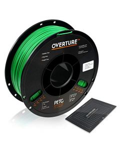 OVERTURE PETG Filament 1.75mm with 3D Build Surface 200 x 200 mm 3D Printer Consumables 1kg Spool (2.2lbs) Dimensional Accuracy +/- 0.05 mm Fit Most FDM Printer (Green) OVPETG175-Green