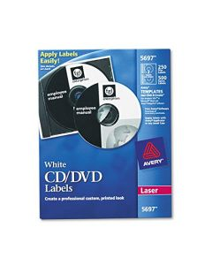 AVERY 5697 Laser CD Labels Matte White (Pack of 250) 5697
