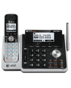 AT&T TL88102 DECT 6.0 2-Line Expandable Cordless Phone with Answering System and Dual Caller ID/Call Waiting 1 Handset Silver/Black TL88102