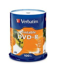 Verbatim DVD-R 4.7GB 16X White Inkjet Printable - 100pk Spindle 95153