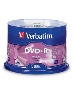 Verbatim DVD+R 4.7GB 16X AZO Recordable Media Disc - 50 Disc Spindle Silver - 95037 95037