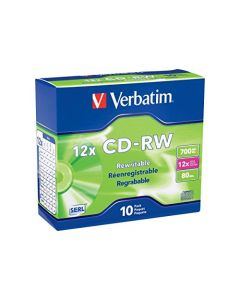 Verbatim CD-RW 700MB 2X-12X Rewritable Media Disc - 10 Pack Slim Case Silver - 95156 95156