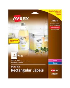 "AVERY Rectangle Labels with Sure Feed for Laser & Inkjet Printers 3.25"" x 7.75"" 16 Labels (22835) White 22835"
