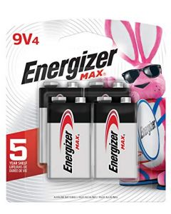 Energizer Max 9V Batteries Premium Alkaline 9 Volt Batteries (4 Battery Count) - Packaging May Vary 522BP-4