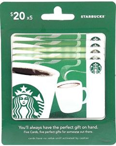 Starbucks 5 x $20 Gift Cards Multipack of 5