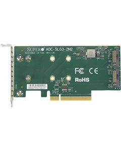 Supermicro AOC-SLG3-2M2 PCIe Add-On Card for up to Two NVMe SSDs AOC-SLG3-2M2-O