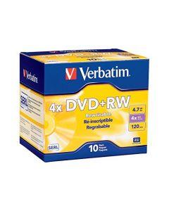 Verbatim DVD+RW 4.7GB 4X with Branded Surface - 10pk Jewel Case - 94839 94839