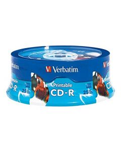 Verbatim CD-R 700MB 52X White Inkjet Printable Hub Printable - 25pk Spindle 96189