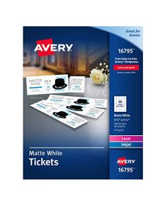 Avery Matte White Printable Tickets with Tear-Away Stubs 1-3/4 x 5-1/2 Pack of 500 (16795) 16795