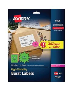 AVERY 5994 High-Visibility Permanent ID Label Bursts Laser 1 1/2 dia Asst. Neon Pack of 360 Neon Green;neon Magenta;neon Yellow 5994