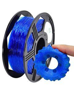 YOYI 3D Printer Filament,TPU Flexible Filament 1.75mm 0.8kg Spool Dimensional Accuracy +/- 0.03 mm,100% Europe Raw Material (Blue) TPU001-Transparent-Blue