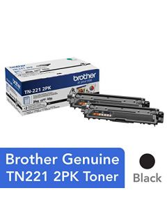 Brother Genuine Standard-Yield Black Toner Cartridge Twin Pack TN221 2PK TN2212PK