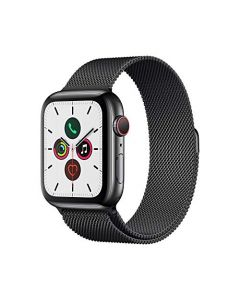 Apple Watch Series 5 (GPS+Cellular 44mm) - Space Black Stainless Steel Case with Black Milanese Loop MWW82LL/A