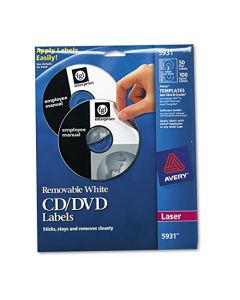 Avery 5931 Laser Labels Shuttered Jewel Case Inserts with Software for CD/DVD AVE5931