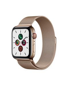Apple Watch Series 5 (GPS + Cellular 44mm) - Gold Stainless Steel Case with Gold Milanese Loop MWW62LL/A