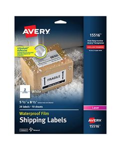 "AVERY Waterproof Shipping Labels with TrueBlock 5.5"" x 8.5"" 20 White Laser Labels (15516) 15516"