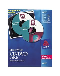 Avery 6692 CD/DVD Labels for Color Lasers 30 Disc Labels & 60 Spine Labels,White AVE6692
