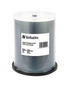 Verbatim CD-R 700MB 52X White Inkjet Hub Printable Recordable Media Disc - 100pk Spindle 95252