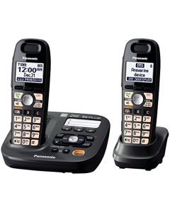 Panasonic DECT 6.0 Plus Cordless Amplified Phone with Digital Answering System Expandable to 6 Handsets Talking Caller ID – 2 Handsets Included (KX-TG6592T),Titanium Black KX-TG6592T