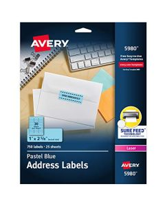 "Avery Neon Address Labels with Sure Feed for Laser Printers 1"" x 2 5/8"" 750 Pastel Blue Labels (5980) 5980"