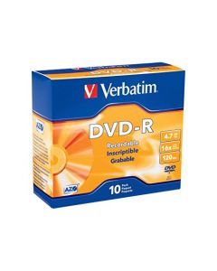 Verbatim 95099 DVD-R 4.7GB 16x Recordable Media Disc - 10 Disc Slim Case 95099
