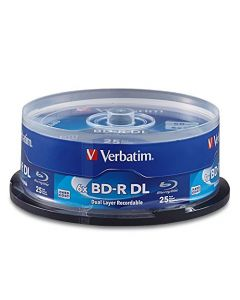 Verbatim BD-R 50GB 6X Blu-ray Recordable Media Disc - 25 Pack Spindle - 98356 98356