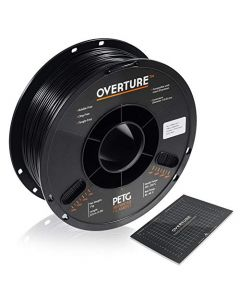 OVERTURE PETG Filament 1.75mm with 3D Build Surface 200 x 200 mm 3D Printer Consumables 1kg Spool (2.2lbs) Dimensional Accuracy +/- 0.05 mm Fit Most FDM Printer (Black (2-Pack)) OVPETG175-2-Black