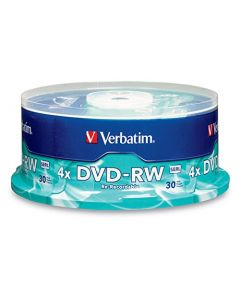 Verbatim DVD-RW 4.7GB 4X with Branded Surface - 30pk Spindle BLUE/GRAY - 95179 95179